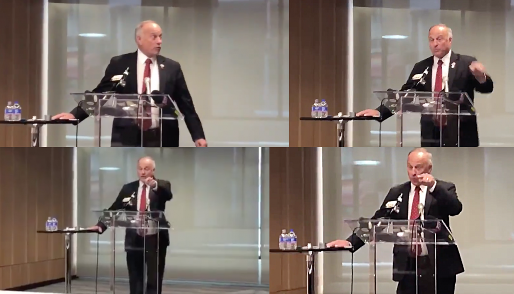 Tantrum! Rep. Steve King loses it as questioner compares his immigration views to those of Pittsburgh synagogue terrorist