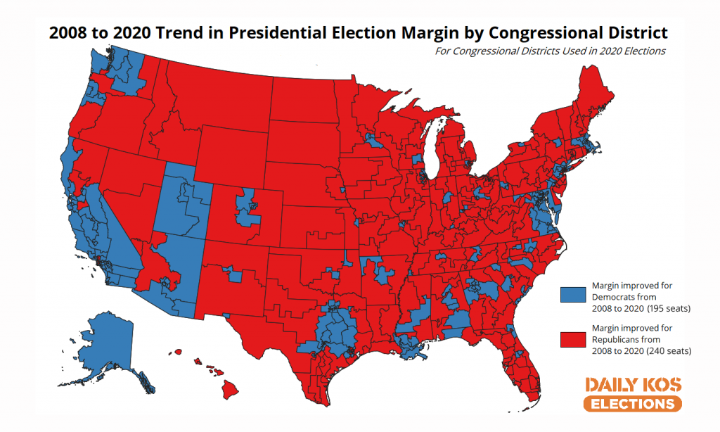 Our new maps show which congressional districts have gotten redder or bluer since 2008 (feeds.dailykosmedia.com)