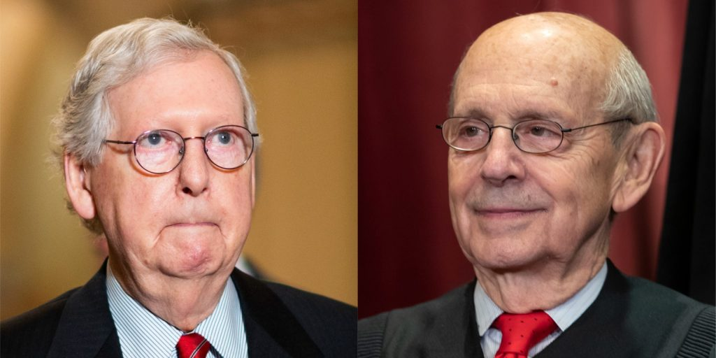 Progressives call on Justice Stephen Breyer to retire amid McConnell's threats to block future Supreme Court nominees (businessinsider.com)
