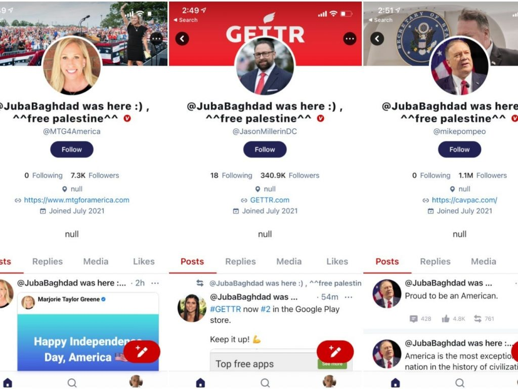 A string of top accounts on the new pro-Trump app GETTR were hacked and defaced on its July 4 launch day (businessinsider.com)
