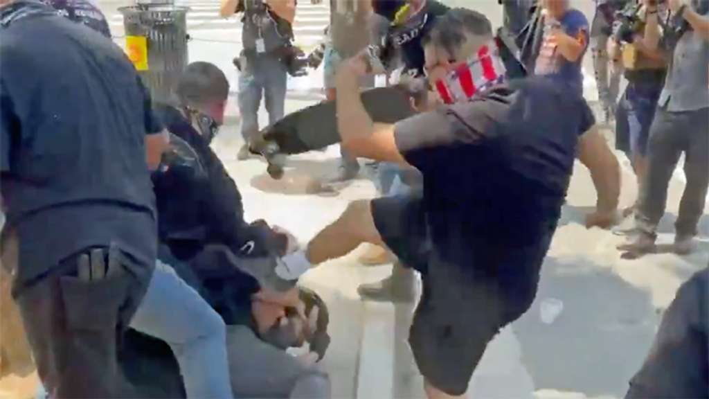 Harrowing videos capture Proud Boys' violence at anti-vaxx rally in downtown Los Angeles: reports (rawstory.com)